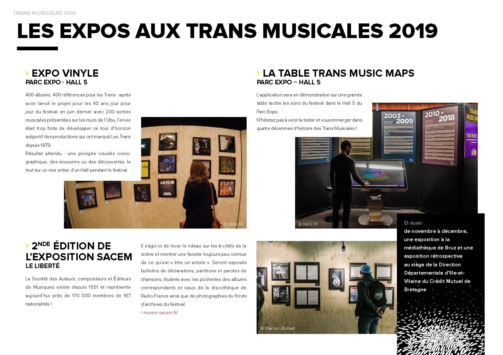 Présentation des différentes expositions aux Trans 2019